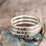 Silver Stacking Name Rings - All Lowercase Letters - Personalized