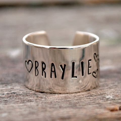 Personalized Name Cuff Ring with Hearts. Sterling Silver.