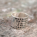 Five Name Personalized Stacked Name Ring. Sterling Silver Cuff Ring.