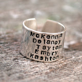 Five Name Personalized Stacked Name Ring. Silver Cuff Ring.