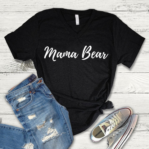 Mama Bear Tee Shirt, Mama Bear Fearless V-Neck, Mama Bear
