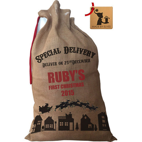 Personalised Baby's First Christmas Luxury Santa Sack