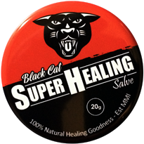 Photo of tin of Black Cat Super Healing Salve