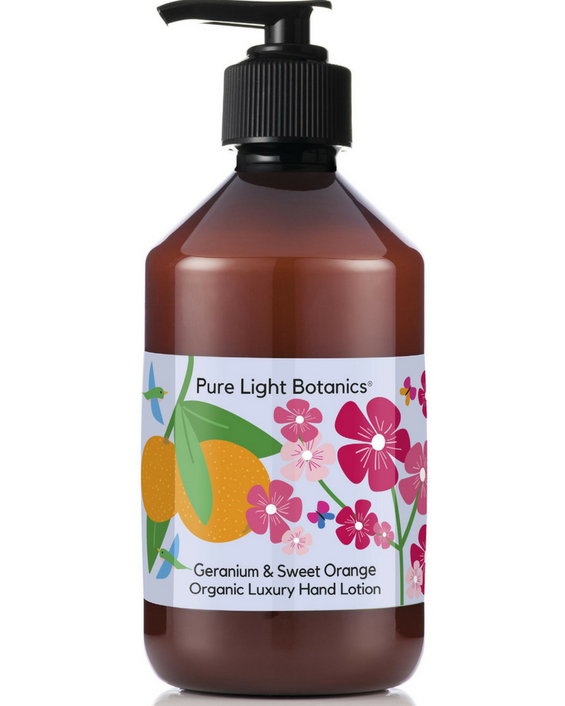 Geranium & Sweet Orange Organic Luxury Hand Lotion 250ml - Pure Light Botanics