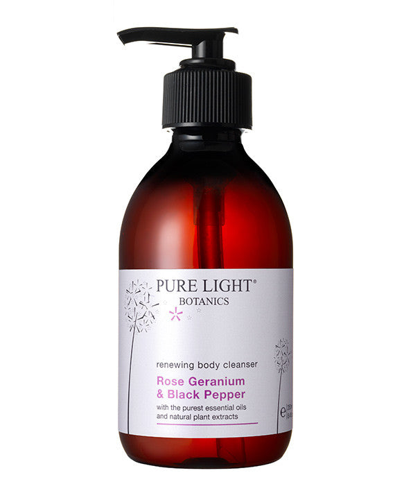 Renewing Rose Geranium & Black Pepper Body Cleanser (250ml & 500ml) - Pure Light Botanics