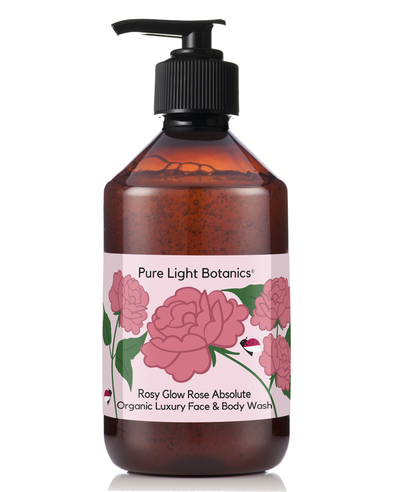 'Rosy Glow' Rose Absolute Organic Luxury Face & Body Wash 250ml - Pure Light Botanics