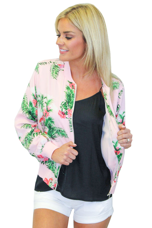 EVERLY Okala Pink Flamingo Jacket