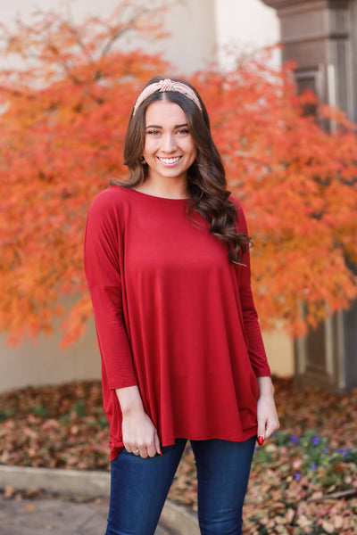 Piko 3/4 Sleeve Top - Wine
