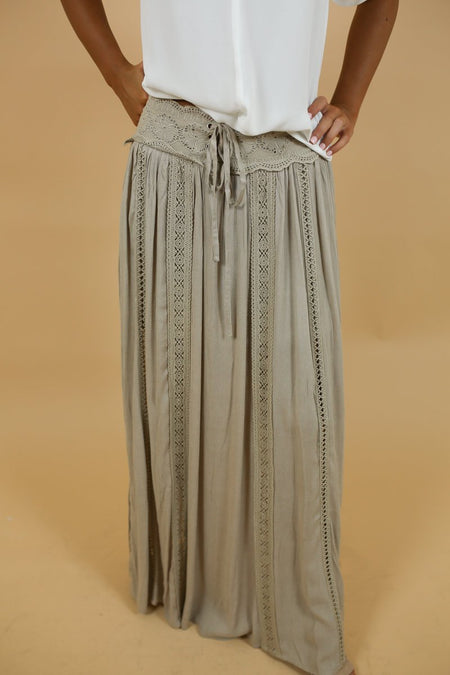 Lisette Olive Green Side Slit Skirt
