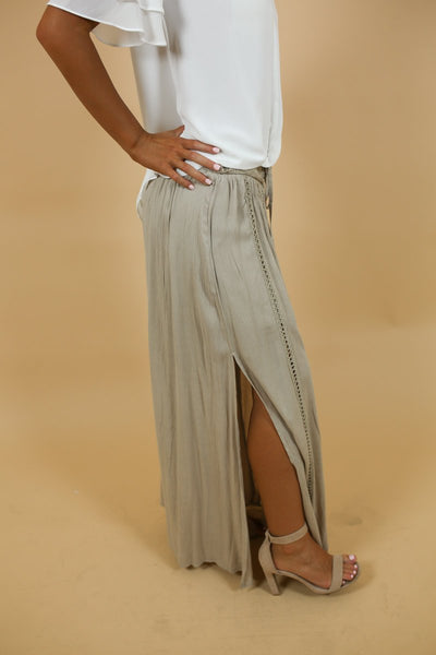 Lisette Tan Side Slit Skirt