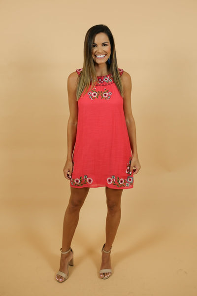 Tucker Coral Embroidered Dress