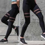 Black Double Stripe Mesh Leggings