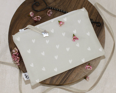 Hearts Make-up Bag - natural