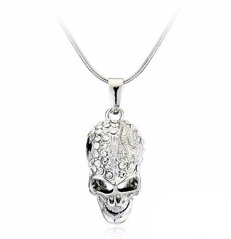 18K White Gold Plated Crystal Skull Pendants Necklaces Fashion Jewelry for women
