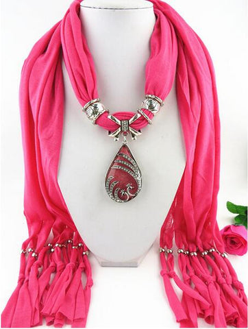 Fashion Vintage Bohemian Big Water Drop Pendant Solid Polyester Long Tassel Scarves Necklace for Women
