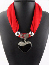 Elegant Heart Pendant Necklace Polyester Scarf Jewelry for Women