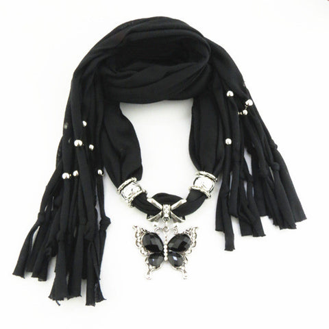New Elegant Solid Rainbow Color Alloy Butterfly Pendant Polyester Tassel Women Scarves
