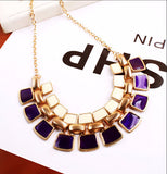 Trendy Collar Gold Plated Enamel Statement Fashion Necklace Women Jewelry
