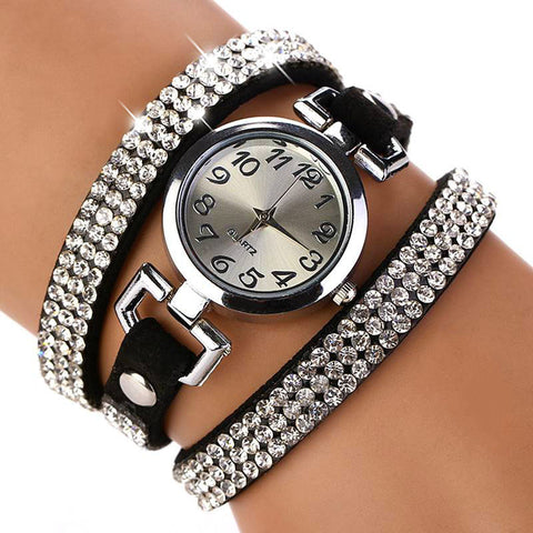 New Luxury Rhinestone Leather Bracelet Round Wristwatches