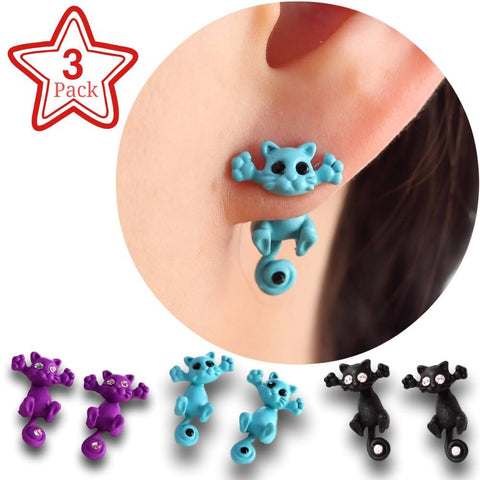 Friends Family Pack - New Hot Fashion Cute Kitten Ear Jewelry Cat Stud Earrings