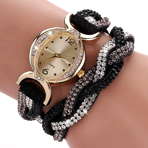 Hot Style Fabric Rhinestone Bracelet Wristwatch