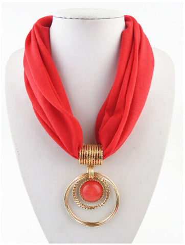 Hot Selling Elegant Golden Round Pendant Short Polyester Scarf Necklace - 9 Vibrant Colors Available
