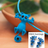 Cute Cat Pendant Necklace With Earrings Free