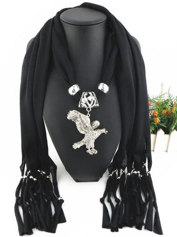 Trendy Solid Alloy Eagle Pendant Long Tassel Polyester Scarves for Women