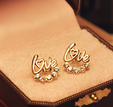 HOT New Arrival Cute Gold Plated LOVE Crystal Stud Earrings For Women