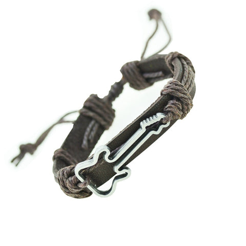 Guitar Bracelet Charm Genuine Leather Bracelets Men Bracelets for Women Gifts