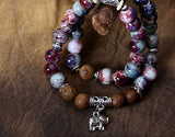 Unique Style Ceramic Beads Double Bracelet With Elephant Dangle