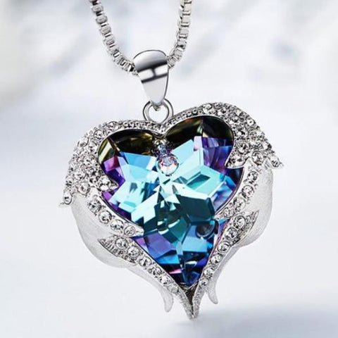 Crystal Star Heart Pendant Necklace