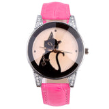 Fashion Ladies Quartz Cat Watch PU Leather Strap