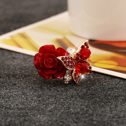 New Arrival Rose Flower and Butterfly Adjustable Women Finger Rings Party Jewelry