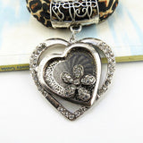Fashion Women Rhinestone Alloy Heart Pendant Necklaces Scarf for Women
