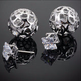 New 18K Gold Plated Round Flower Double Crystal Earrings Stud Earring For Women