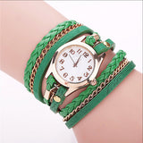 Gold Plated Dial Retro Vintage Dress Quartz Watches Leather Strap For Women