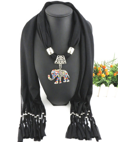 New Arrival Elegant Alloy Multicolor Rhinestone Elephant Pendant Scarves for Women