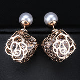 New Fashion Double Faced Pearl Stud Earring Elegant Crystal Earrings For Women