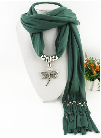 New Fashion Deisgn Dragonfly Pendant  Long Polyester Tassel Scarves for Women