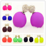 Hot New Fashion jewelry double side full rhinestone 16MM pearl Frosted matte stud earring gift for women girl mix color
