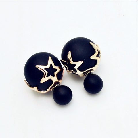 New Fashion jewelry double side matte pearl stud earing star flower design gift for women girl - Available in 9 vibrant colors