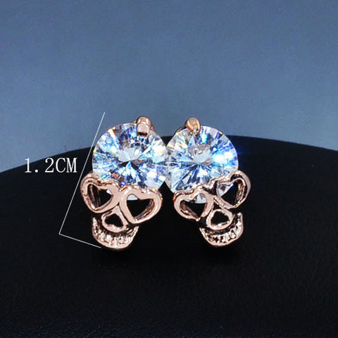 New fashion jewelry rose gold plated CZ zircon skull skeleton stud earing gift for women girl
