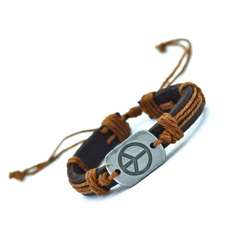 Genuine Leather Bracelet Peace Charm Cuff Braided Wrap Bracelet & Bangles Fashion For Women Men