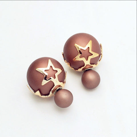 New Fashion Jewelry Double Side Matte Pearl Stud Earing