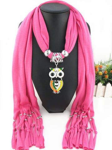New Fashion Solid Enamel Alloy Owls Pendant Polyester Tassel Scarves for Women