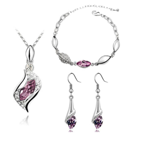 Elegant luxury Fashion Crystal Drop Jewelry Set