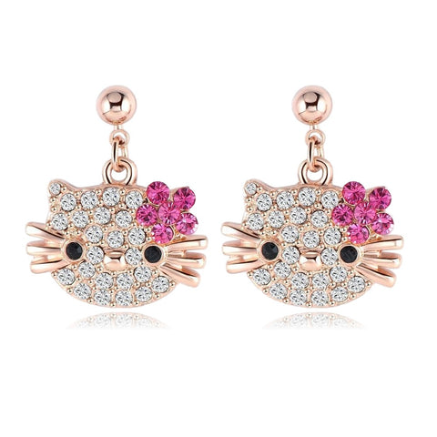 Lovely Kitten Cat Flower Stud Earring For Girls 18K Rose Gold Plated
