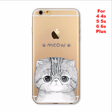 Cute Cat Phone Case For Apple iPhone Soft TPU Silicon Transparent Thin Case