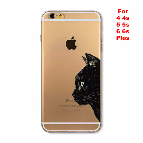 Cute Black Cat Phone Case For Apple iPhone Soft TPU Silicon Transparent Case